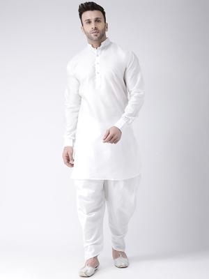 White Plain Dupion Kurta Pajama