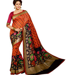 Buy Orange embroidered silk saree with blouse silk-saree online