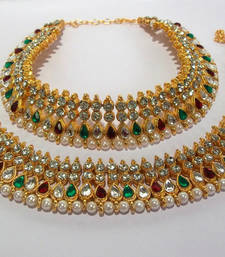 Mullti Color Anklet with white stone and Kundan