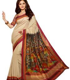 Buy White lace  Silk Fashion saree  with Blouse art-silk-saree online