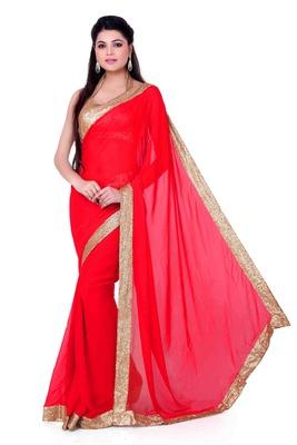 Reddish Orange saree with sequin border