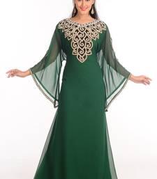 Bottle Green Georgette Embroidered Islamic Kaftan Farasha