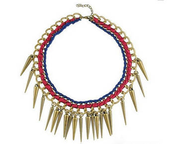 Ribbon and spikes Magenta and blue necklace