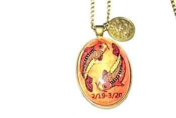 Pisces zodiac long chain necklace