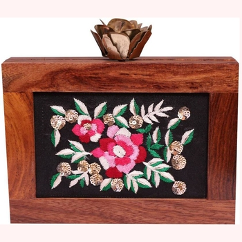 EMBROIDERED WOODEN PARTY CLUTCH BAG BROWN