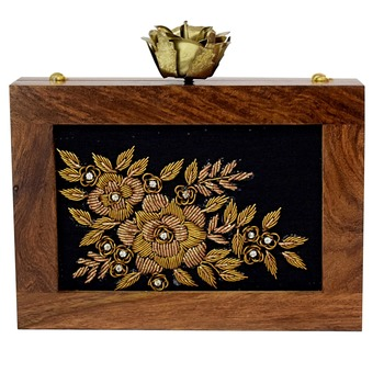 BROWN, BLACK CLUTCH WOODEN EMBROIDERY PARTY