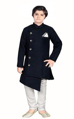 Kids Black Kurta Pyjama Set For Boys