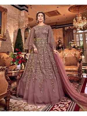 Dark Purple Resham Embroidery Net Salwar