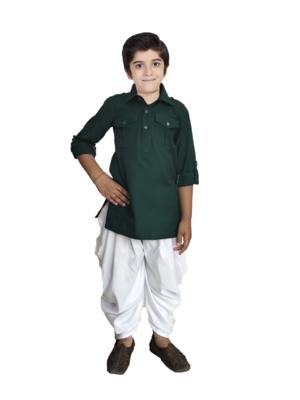 Kids Green Kurta Pyjama Set For Boys