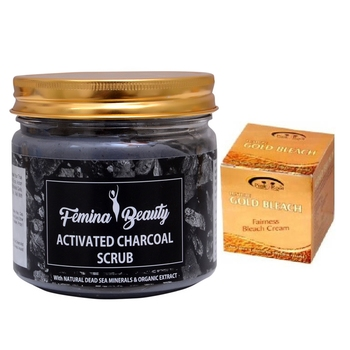 Femina Beauty Charcoal Gel With Pink Root Gold Bleach 43 Gm