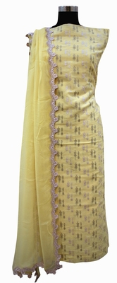 Designer Chanderi Lemon Melon Suit Set