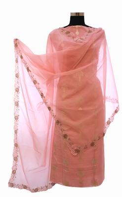 Designer Spary Pink Unstitched Chanderi Suit Set