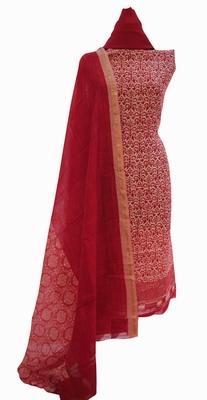 Designer Crimson Red Maheshwari Printed Suit Fabric
