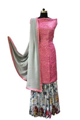 Designer Silver Rose Suit Set