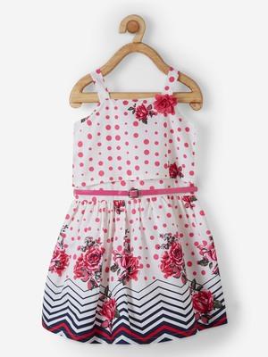 Pink printed cotton kids-frocks