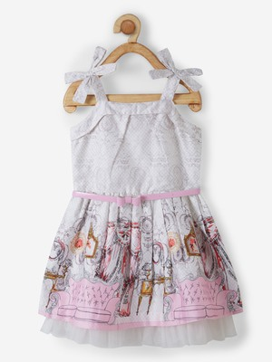 Pink printed cotton kids-frocks