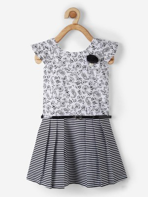 Black printed cotton kids-frocks