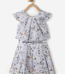 Grey printed cotton kids-frocks