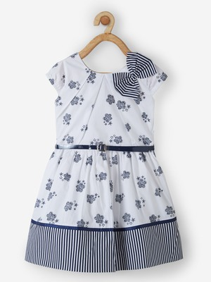 White printed cotton kids-frocks