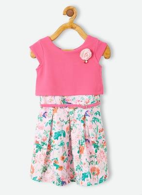 Pink printed velvet kids-frocks