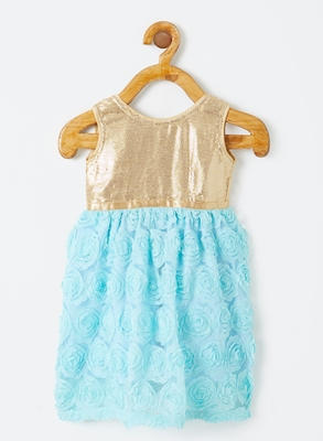 Blue printed blended cotton kids-frocks