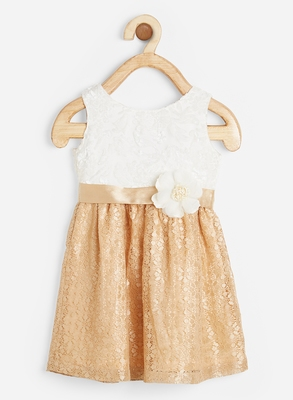 White embroidered satin kids-frocks