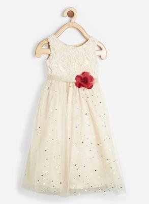 Beige embroidered satin kids-frocks