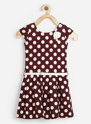 Brown printed blended cotton kids-frocks