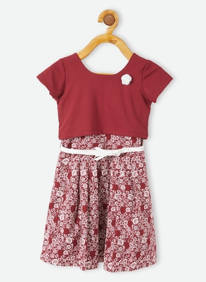 Maroon printed velvet kids-frocks
