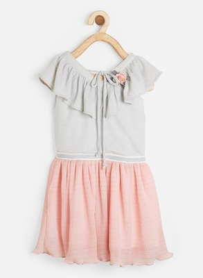 Pink printed satin kids-frocks