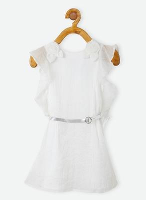 White plain linen kids-frocks