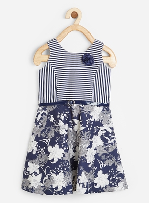 Blue printed cotton kids-frocks