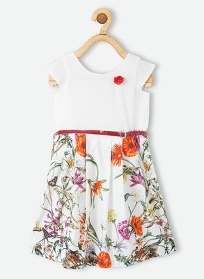 White printed polyester kids-frocks