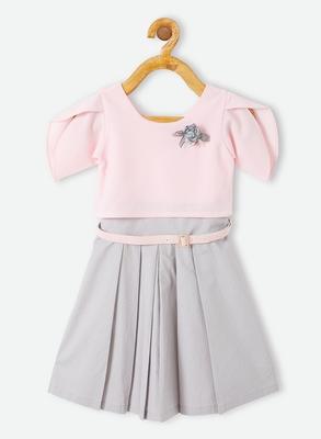 Pink plain velvet kids-frocks