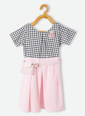 White printed velvet kids-frocks