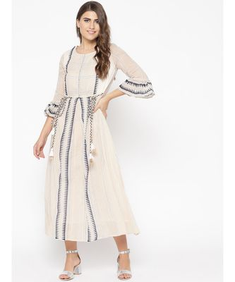 off white printed cotton kurtis
