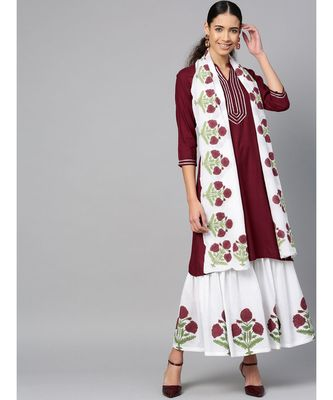 maroon plain rayon kurta-sets