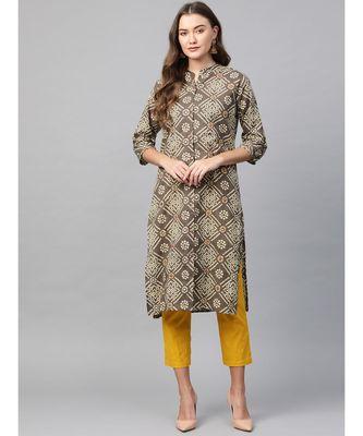 green printed cotton kurta-sets