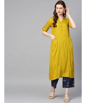 mustard plain rayon kurta-sets