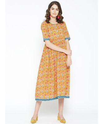 mustard printed cotton kurtis