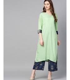 green plain rayon kurta-sets