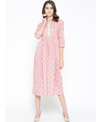 pink printed cotton kurtis