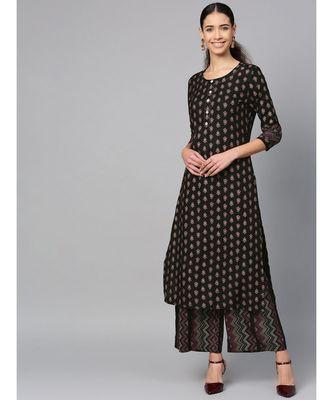 black printed cotton kurta-sets