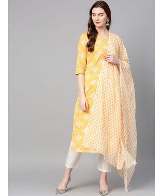 yellow printed cotton kurta-sets