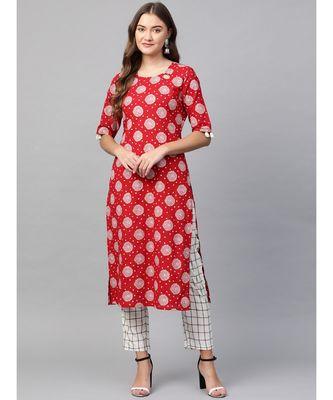 red printed cotton kurta-sets