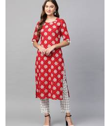 red printed cotton kurta-sets