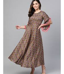brown printed rayon kurtis