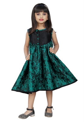 Kids Green Brocade Frock