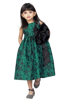 Kids Brocade Rama Green Dress Frock