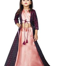 Girls Cotton silk  Maroon Cotty And Brown Indo-western Dress
